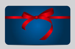 Card with Red Gift Ribbon. Vector illustration. EPS10 Stock Image