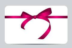 Card with Red Gift Ribbon. Vector illustration. EPS10 Royalty Free Stock Photography