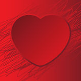 Card with red heart background scribble Stock Images