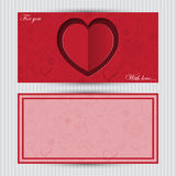 Card with red heart and love symbol Stock Photography