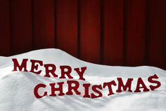 Card With Red Letters Merry Christmas, Snow Stock Photography