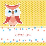 Card with red owl. Greeting card with red owl Stock Photo