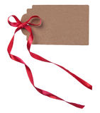 Card with red ribbon Stock Image