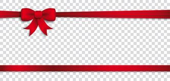 Card Red Ribbon Bow Header Transparent. Header with red ribbon and bow on the checked background Royalty Free Stock Photography