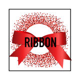 Card with red ribbon and bow. Vector illustration Stock Images