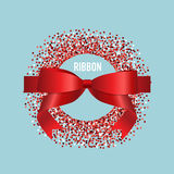 Card with red ribbon and bow. Vector illustration Stock Photography