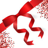 Card with red ribbon and bow. Vector illustration Royalty Free Stock Photos