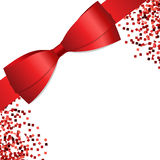 Card with red ribbon and bow. Vector illustration Royalty Free Stock Image