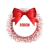 Card with red ribbon and bow. Vector illustration Stock Photo