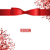 Card with red ribbon and bow. Vector illustration Stock Image