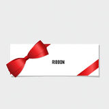 Card with red ribbon and bow. Vector illustration Royalty Free Stock Photography