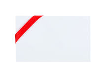 Card with red ribbon bow on white background Royalty Free Stock Image