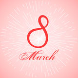 Card with red ribbon in shape of 8. Art for womens day celebration.. Card with red ribbon in shape of 8 march. Art for womens day celebration. Pink background Royalty Free Stock Image