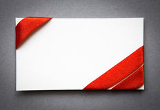 Card with red ribbons bows Royalty Free Stock Photos