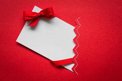 Card with red ribbons bows Stock Image