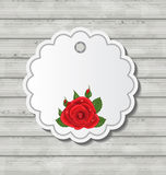Card with red rose for Valentine Day on wooden tex Royalty Free Stock Photography