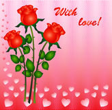Card with red roses. Romantic card with red roses and hearts Royalty Free Stock Photography