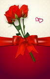 Card with red roses, bow, hearts and copy space Royalty Free Stock Image