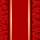 Card with red roses. Stock Photos