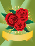 Card with red roses Royalty Free Stock Photos
