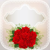 Of card with red roses and lace Stock Images