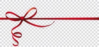 Card Red Thin Ribbon Bow Header Transparent. Header with red ribbon, bow on the checked background Stock Photo
