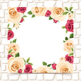 Card with red and white roses on a stone wall. Vector eps-10. Royalty Free Stock Images
