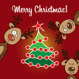 Card reindeer and Christmas flat tree Stock Photography