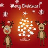 Card reindeer and Christmas tree Royalty Free Stock Photography