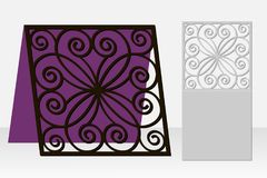Card with a repeating geometric pattern for laser cut. Stock Images