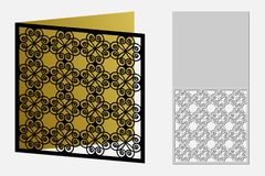 Card with a repeating geometric pattern for laser cut. Stock Photo