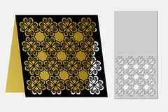 Card with a repeating geometric pattern for laser cut. Royalty Free Stock Images