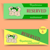 Card reservations for restaurants and cafes. With elements hand drawing. Horizontal banner tables reservation Stock Photos