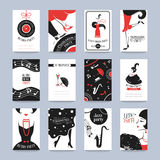 Card retro party. Retro Party invitation cards in the style of the 1920s. Vector illustration Stock Images