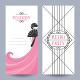 Card retro party. Retro Party invitation card in the style of the 1920s. Vector illustration. Art Deco Stock Photography