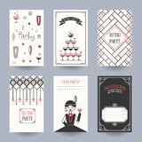 Card retro party. Retro Party invitation card in the style of the 1920s. Vector illustration. Art Deco Stock Image