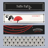 Card retro party. Retro Party invitation card in the style of the 1920s. Vector illustration. Art Deco and Nouveau Royalty Free Stock Photography