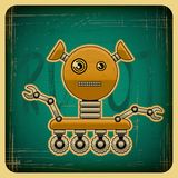 Card in retro style with the robot Royalty Free Stock Image