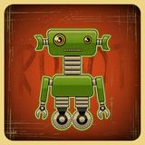 Card in retro style with the robot.  Stock Photos