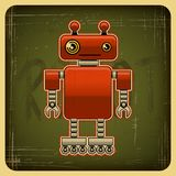 Card in retro style with the robot.  Stock Images