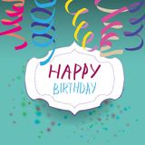 Card with ribbon and badge with happy birthday. Royalty Free Stock Photography