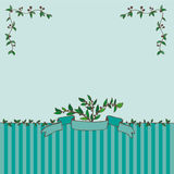 Card with ribbon and branches. Contains angular elements of the branches. Light green background with stripes Royalty Free Stock Images