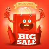 Card with ribbon and character smile bag. Big sale concept. Vector illustration Royalty Free Stock Image