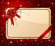 Card with ribbon on red background Stock Image