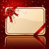 Card with ribbon and stars. Gift card with red ribbon and bow, illustration Stock Image