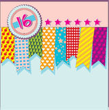 Card with ribbons. Greeting card with ribbons and stars for the 16th anniversary Royalty Free Stock Photography