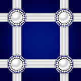 Card with ribbons. Card with ribbons and pearl ornaments on a blue background. Pearl brooch..Vector illustration Stock Images