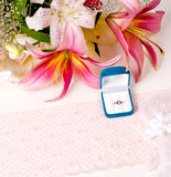 Card with ring, lace and flowers Stock Image