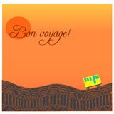 Card with road, bus and text Happy journey in french Bon voyage. Stock Images