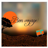Card with road, bus and text Happy journey in french Bon voyage. Stock Photo